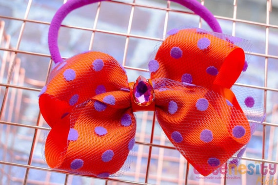 Maya purple and orange polka  bow  - Baby / Toddler / Girls / Kid Headband / Hairband  / Barette / Hairclip / birthday party / wedding