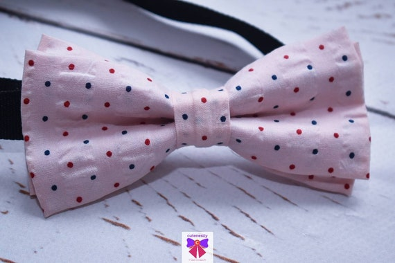 Kids Pink with Navy and Red Polka Dot Bow Tie with Suspenders / Braces for Baby, Toddlers and Boys - Wedding / Birthday / Christening