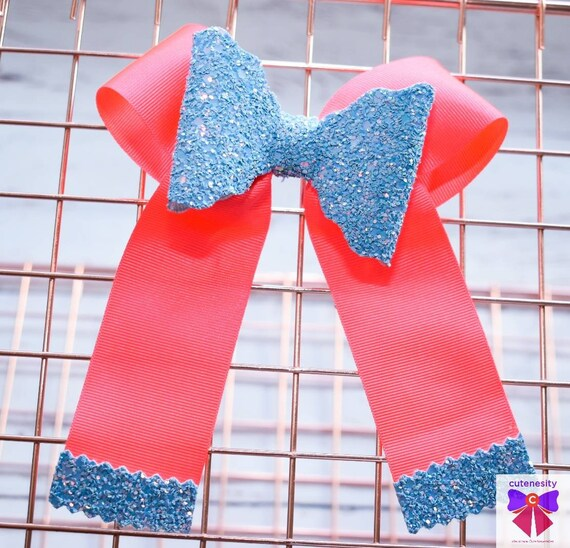 Flourescent pink and Blue Long Tail Bow with Glitter Tips Baby / Toddler / Girl / Kid Headband / Hairband / Hair bow / Barrette / Hairclip