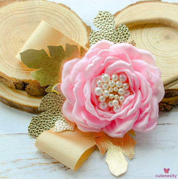 Ivory and pink flower with pearly centre and gold leaves bow - Baby / Toddler / Girl / Kid Headband / Hairband / Hair bow / Barrette / Clip