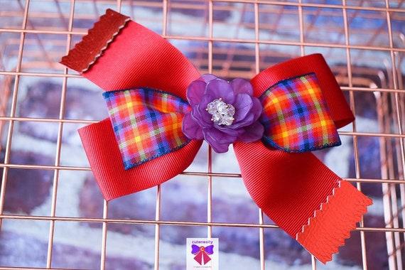 Red and purple plaid layered bow with flower rhinestone - Baby / Toddler / Girls / Kids Headband / Hairband  / Barette / Hairclip