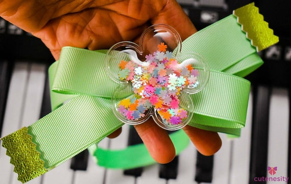 Mint Green ribbon bow with confetti filled flower embellishment - Baby / Toddler / Girls / Kids Headband / Hairband  / Barrette / Hairclip