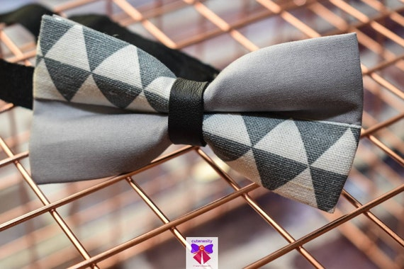 Kids Grey and White Chevron Bow Tie with Suspenders / Braces  for Baby, Toddler and Boys - Wedding / Cake Smash / Birthday / Christening