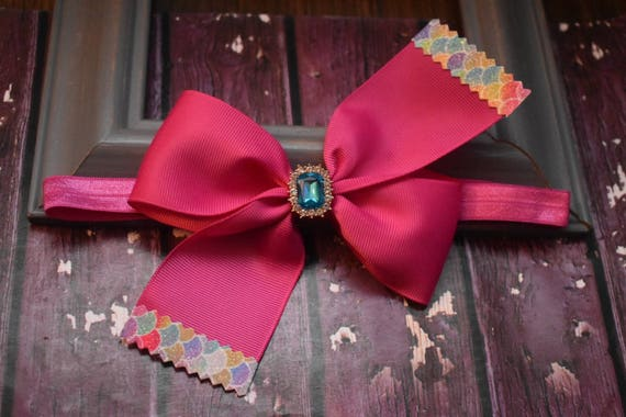 Pink grosgrain with mermaid scale effect tips bow - Baby / Toddler / Girls / Kids Headband / Hairband / Barrette / Hairclip