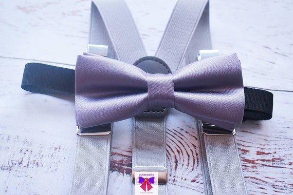 Silver Grey Satin Bow Tie  for Baby, Toddlers and Boys (Kids Bow Ties) with Braces / Suspenders for wedding / church /baptism / communion