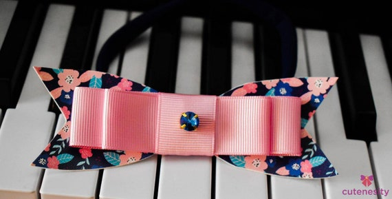 Pink and navy floral bow  - Baby / Toddler / Girls / Kid Headband / Hairband  / Barette / Hairclip / cake smash / birthday party / calesmash