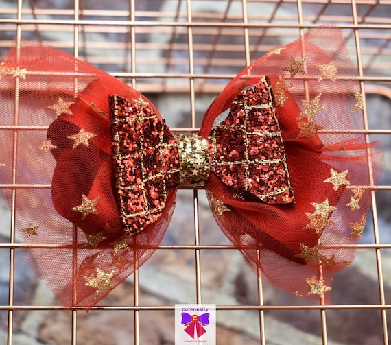 Red and Gold Star Detail Tulle and Glitter Layered Bow - Baby / Toddler / Girls / Kids Headband / Hairband  / Barette / Hairclip