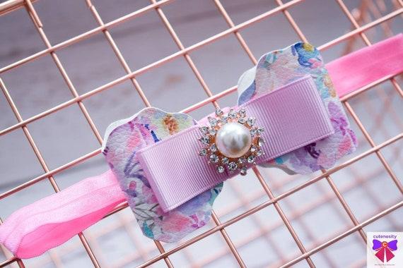 Pink floral bow  - Baby / Toddler / Girls / Kids Headband / Hairband  / Barette / Hairclip / cake smash / birthday party / photoshoot