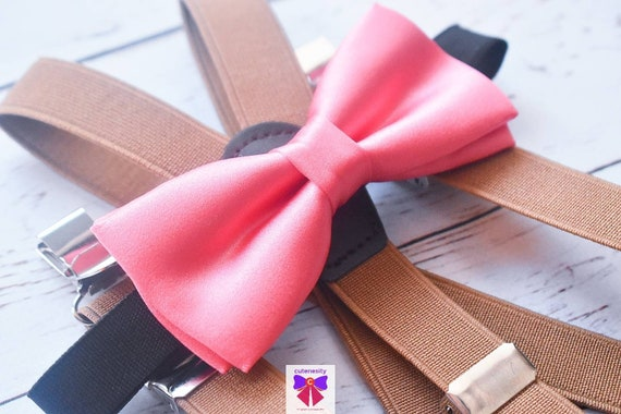 Kids Coral Satin Bow Tie with Khaki Suspenders / Braces  for Baby, Toddlers and Boys - Wedding / Cake Smash / Birthday / Christening / Party
