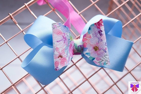 Blue and pink floral bow  - Baby / Toddler / Girls / Kids Headband / Hairband  / Barette / Hairclip / cake smash / birthday party / wedding
