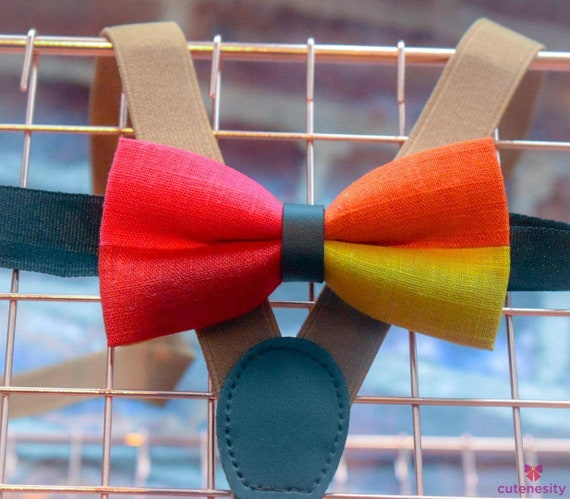 Multicoloured linen Bow Tie with Suspenders / Braces  for Baby, Toddler and Boys - Wedding / Cake Smash / Birthday / Christening / Party