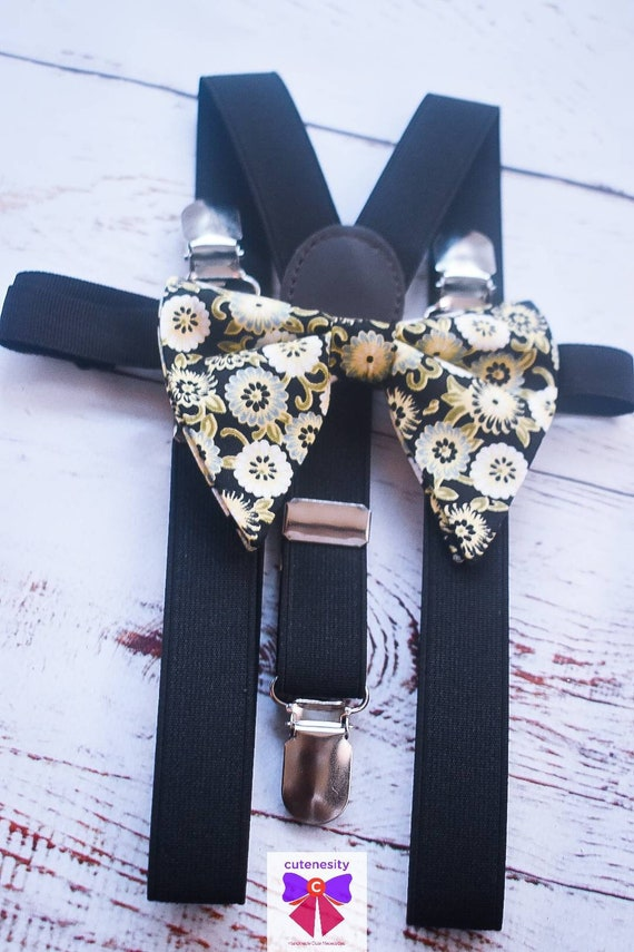 Black and Gold floral butterfly / poppy Bow Tie  for Baby, Toddlers and Boys (Kids Bow Ties) with Braces / Suspenders