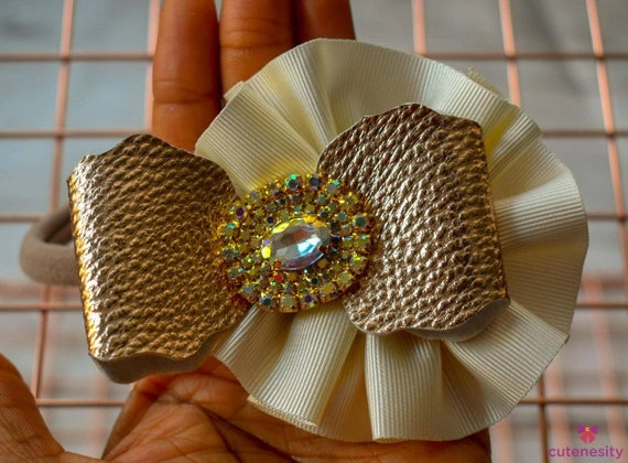 Ivory and Vintage Gold Bowsette with sparkly rhinestone - Baby / Toddler / Girls / Kids Headband / Hairband  / Barrette / Rosette / Hairclip