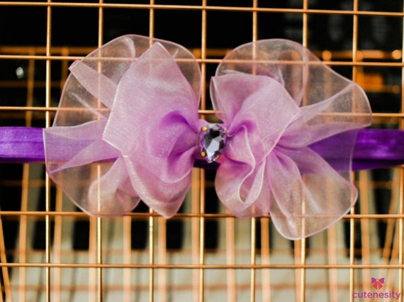 Pretty lilac sheer Ruffles Bow - Baby / Toddler / Girls / Kids Headband / Hairband  / Barette / Hairclip for Birthday, Wedding, Party