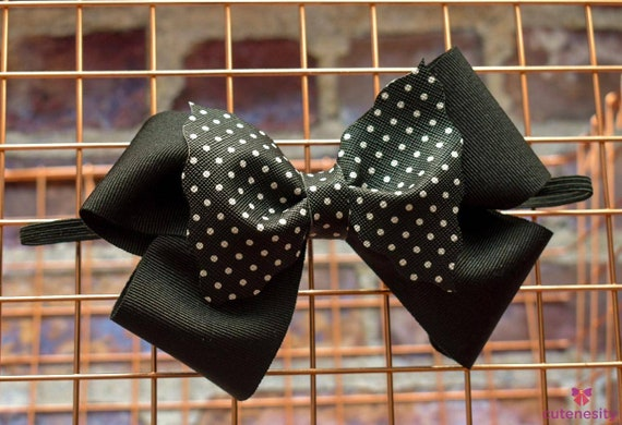 Black and white polka dot layered Bow feat leather and grosgrain - Baby / Toddler / Girls / Kids Headband / Hairband  / Barette / Hairclip