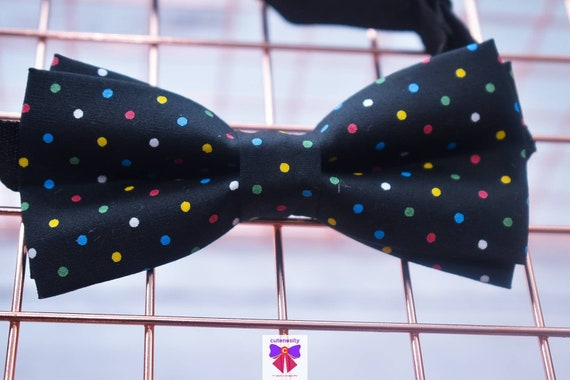 Kids Colourful Polka Dot Black Bow tie with Suspenders / Braces  for Baby, Toddler and Boy - Wedding / Church/ Cake Smash / Birthday /Party