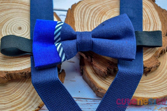 Cayden navy & blue linen Bow Tie with Suspender / Braces  for Baby, Toddler and Boy - Wedding / Cake Smash/ Birthday /Christening / baptism