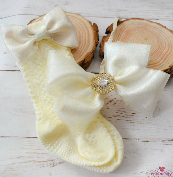 Ivory rhinestone bow with  matching pale yellow cable socks - Baby / Toddler / Girls / Kids Headband / Hairband  / Barette / Hairclip