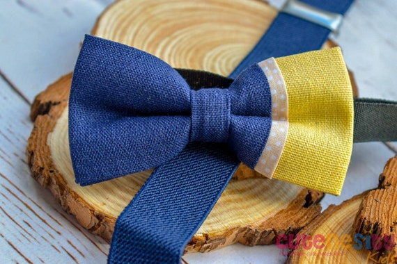 Cayden yellow & navy linen Bow Tie with Suspender / Brace for Baby, Toddler and Boy - Wedding / Cake Smash/ Birthday /Christening / baptism