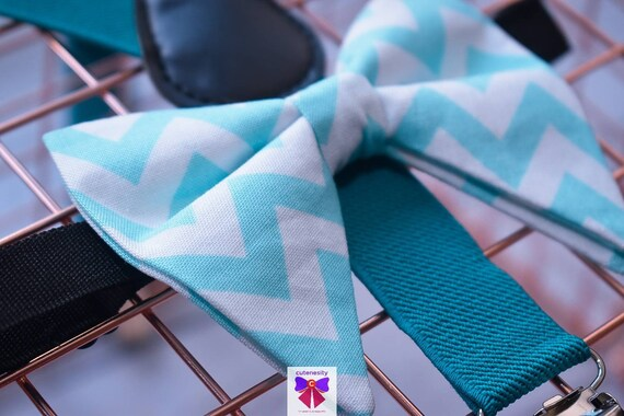 Aqua and white Chevron butterfly / poppy Bow Tie  for Baby, Toddlers and Boys (Kids) with Braces / Suspenders for church, wedding, birthday
