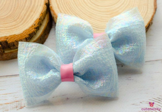 Shimmery pastel blue and pink pair of barrettes- Toddler / Kids Elastic / Hairband/ Bow/ Hairbow for everyday wear, wedding, party, birthday