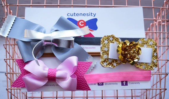 Set of 3 Headbands in gold, silver and Pink - Baby / Toddler  Elastic / Hairband/ Bow/ Hairbow / Barrettes / Hairclips / grosgrain / stars