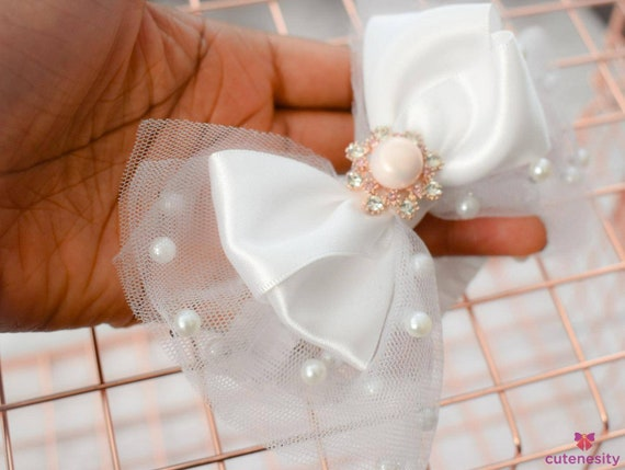 White beaded tulle and satin  layered Bow with rhinestone - Baby / Toddler / Girl / Kids Headband / Hairband  / Barette / Hairclip / baptism