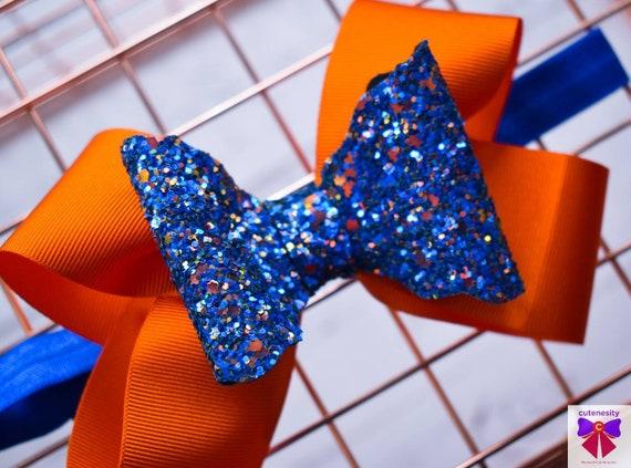Orange and royal blue glitter bow  - Baby / Toddler / Girls / Kids Headband / Hairband  / Barette / Hairclip / cake smash / birthday party
