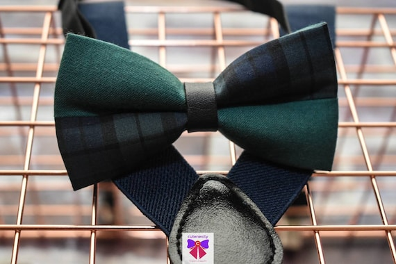 Kids Green and Navy Tartan / Plaid Bow Tie with Suspender / Brace  for Baby, Toddler and Boy - Wedding / Cake Smash / Birthday / Christening