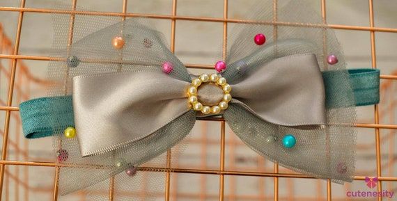 Silver grey with multicoloured beads tulle Layered Bow - Baby / Toddler / Girls / Kids Headband / Hairband  / Barette / Hairclip