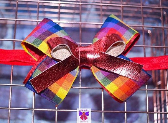 Colourful Plaid / Tartan / Gingham with Red Leather Bow - Baby / Toddler / Girls / Kids Headband / Hairband / Hair bow / Barette / Hairclip