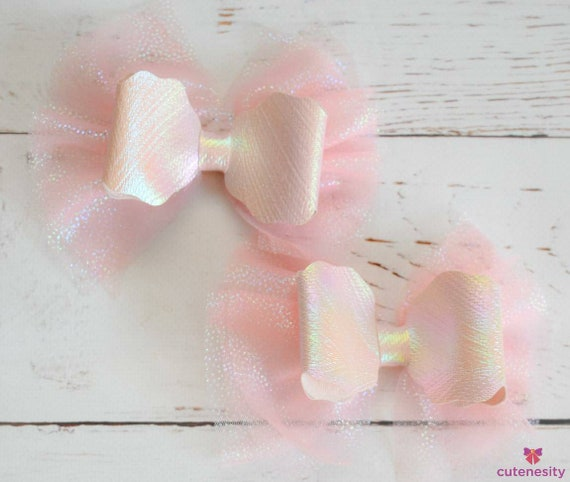 Pastel pink tulle iridescent barrettes- Toddler / Kids Elastic / Hairband/ Bow/ Hairbow for everyday wear, wedding, party, birthday