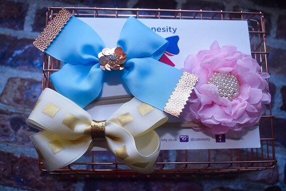 Festive set of 3 Headbands in Ivory, Blue and Pink - Baby / Toddler  Elastic / Hairband/ Bow/ Hairbow / Barrettes / Hairclips / Hair Flower
