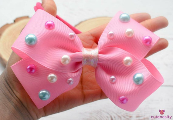 3d polka dot pearly pink bow  - Baby / Toddler / Girls / Kids Headband / Hairband  / Barette / Hairclip for party, birthday, photoshoot