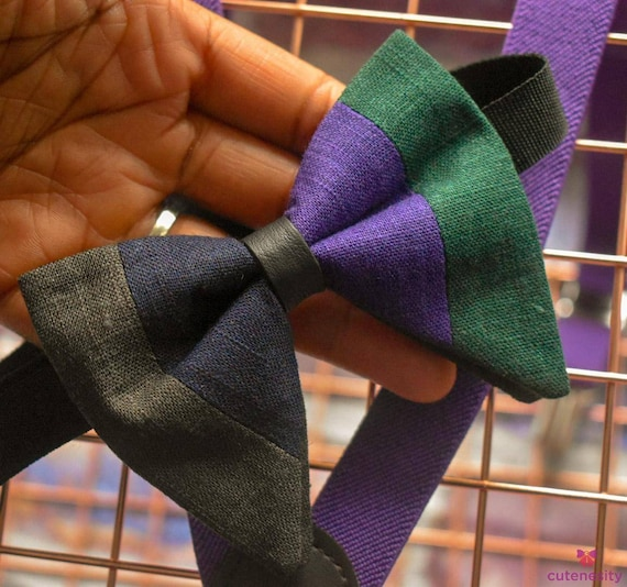 Multicoloured stripe linen butterfly / Floppy Bow Tie  for Baby, Toddlers and Boys (Kids Bow Ties) with Braces / Suspenders for Wedding