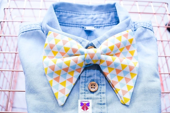 Pastel geometric print butterfly / poppy Bow Tie  for Baby, Toddlers and Boys (Kids) with Braces / Suspenders for wedding, christening