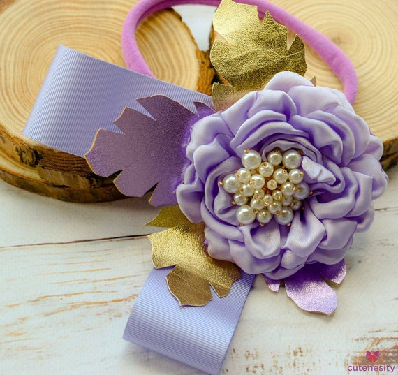 Lilac and Gold Flower with pearly centre and leaves bow - Baby / Toddler / Girl / Kid Headband / Hairband / Hair bow / Barrette / Clip