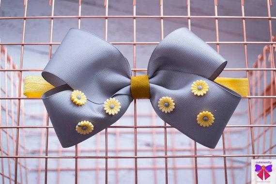 Grey and Yellow Daisy bow  - Baby / Toddler / Girls / Kids Headband / Hairband  / Barette / Hairclip / cake smash / birthday party / wedding