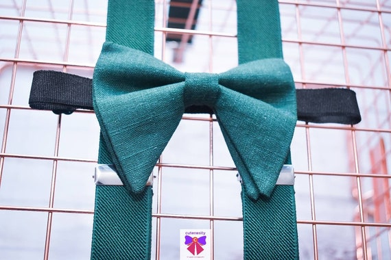 Dark Green Linen butterfly / floppy Bow Tie  for Baby, Toddlers and Boys (Kids) with Braces / Suspenders for church, wedding, birthday