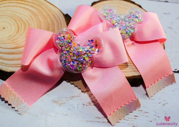 Pastel pink confetti barrettes- Toddler / Kids Elastic / Hairband/ Bow/ Hairbow for everyday wear, wedding, party, birthday