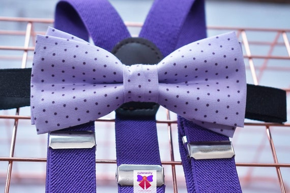 Lilac and Purple Polka Dot Bow Tie  for Baby, Toddlers and Boys (Kids) with Braces / Suspenders for wedding / church /baptism / communion