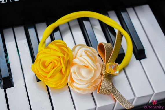 Yellow and Ivory Flowers with gold bow & rhinestone - Baby / Toddler / Girl / Kid Headband / Hairband / Hair bow / crown / wreath / Easter