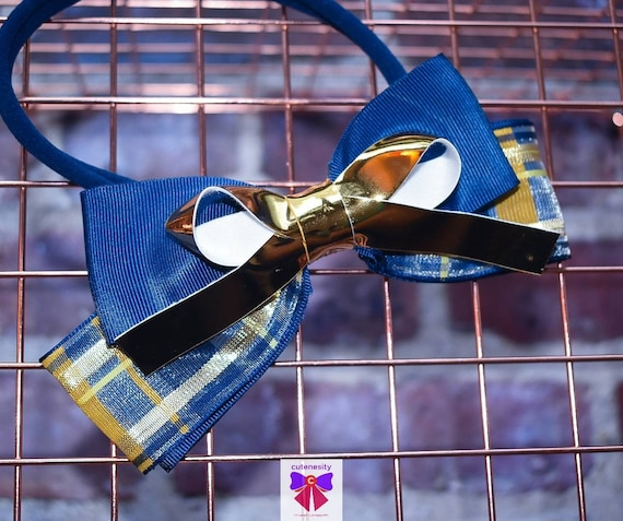 Navy and gold plaid grosgrain  sheer with patent bow - Baby / Toddler / Girls / Kids Headband / Hairband / Hair bow / Barette / Hairclip
