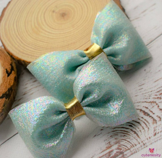 Shimmery pastel green barrettes- Toddler / Kids Elastic / Hairband/ Bow/ Hairbow for everyday wear, wedding, party, birthday, church