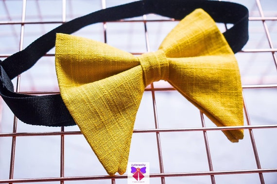 Mustard yellow linen butterfly / poppy Bow Tie  for Baby, Toddlers and Boys (Kids) with Braces / Suspenders for church, wedding, birthday