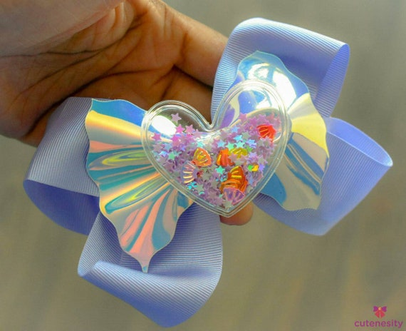 Lilac Iridescent bow with confetti filled heart embellishment - Baby / Toddler / Girls / Kids Headband / Hairband  / Barrette / Hairclip