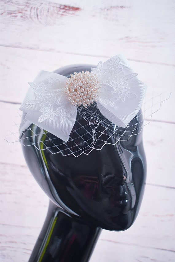 Christening white bow with veil headband - Baby / Toddler / Girls / Kids Headband / Hairband / Hair bow /Baptism /First Communion