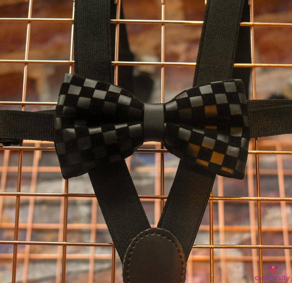 Rich Black Leather and velvet grid Bow Tie with Suspenders / Braces for Baby, Toddlers and Boys - Wedding / Birthday / Christening Christmas