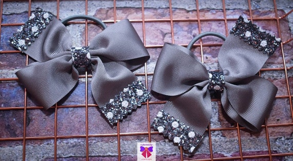 Pair of Silver Grey Polka Dot Bow Hair Ties - Kids / Toddlers / Girl pony tail holders / scrunchies / Flowergirls bow / Hairbands / Autumn
