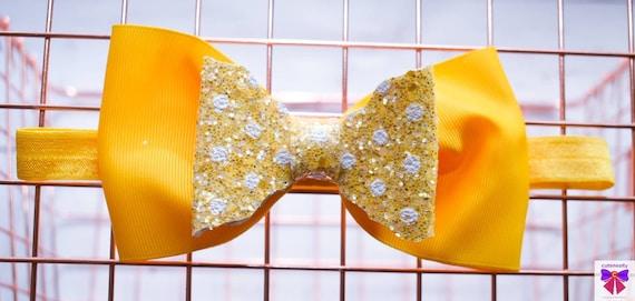 Bright yellow polka dot glitter bow  - Baby / Toddler / Girls / Kids Headband / Hairband  / Barette / Hairclip / cake smash / birthday party